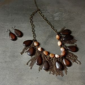 Jewelry - statement necklace and earrings, metal/wood